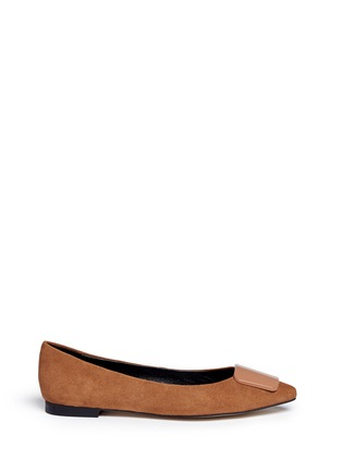 Main View - Click To Enlarge - Pedder Red - Enamel plaque suede skimmer flats