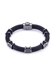 Shamballa Jewels 'Korne' diamond rhodium 18k gold leather bracelet