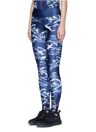 Front View - Click To Enlarge - WE ARE HANDSOME - 'The Cascade' tidal wave print active leggings