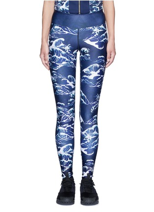 Main View - Click To Enlarge - WE ARE HANDSOME - 'The Cascade' tidal wave print active leggings