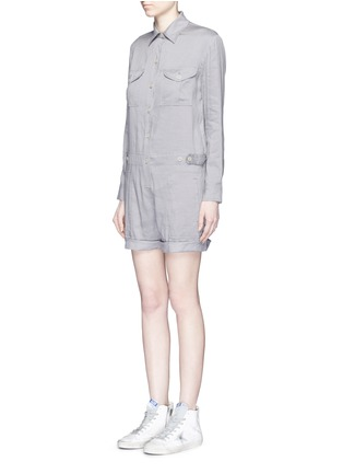 Front View - Click To Enlarge - Vince - Linen blend utility long sleeve rompers