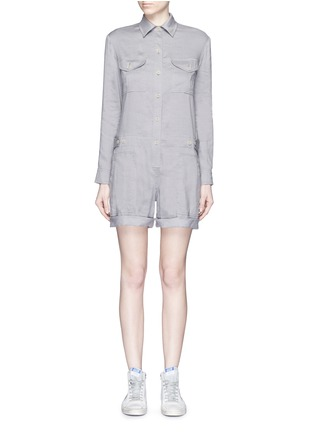 Main View - Click To Enlarge - Vince - Linen blend utility long sleeve rompers