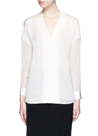 Main View - Click To Enlarge - Vince - Embroidered V-neck satin blouse