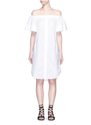 Main View - Click To Enlarge - Vince - Flutter sleeve off-shoulder shirt dress