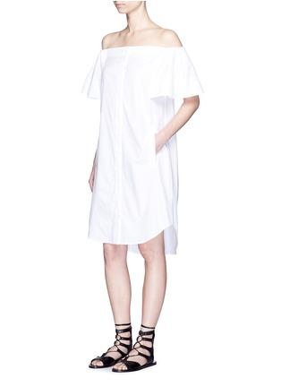 Figure View - Click To Enlarge - Vince - Flutter sleeve off-shoulder shirt dress