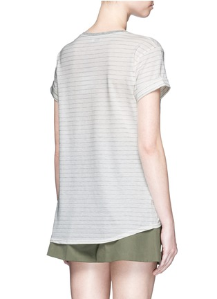 Back View - Click To Enlarge - Vince - Speed stitch stripe rolled sleeve T-shirt