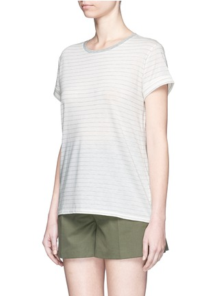 Front View - Click To Enlarge - Vince - Speed stitch stripe rolled sleeve T-shirt