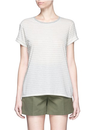 Main View - Click To Enlarge - Vince - Speed stitch stripe rolled sleeve T-shirt
