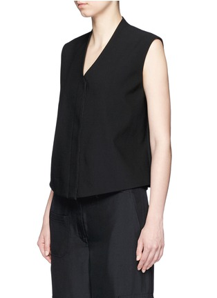 Front View - Click To Enlarge - Helmut Lang - Cropped wool gabardine vest