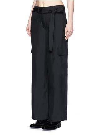 Front View - Click To Enlarge - Helmut Lang - Dupioni silk belted cargo pants