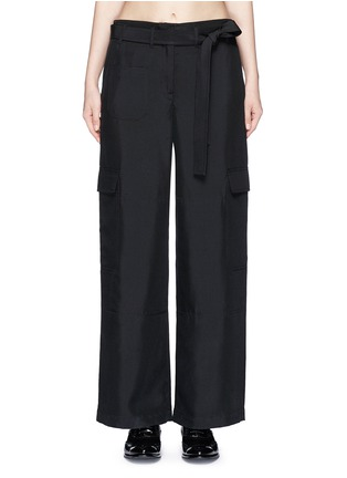 Main View - Click To Enlarge - Helmut Lang - Dupioni silk belted cargo pants
