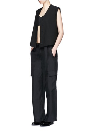 Figure View - Click To Enlarge - Helmut Lang - Dupioni silk belted cargo pants