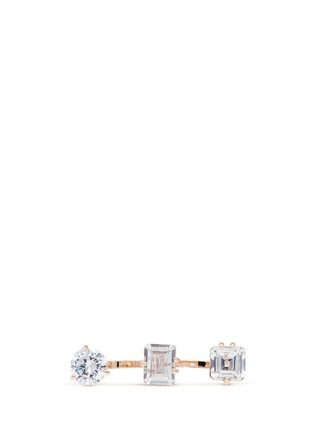 Main View - Click To Enlarge - CZ by Kenneth Jay Lane - Mix cubic zirconia two finger ring