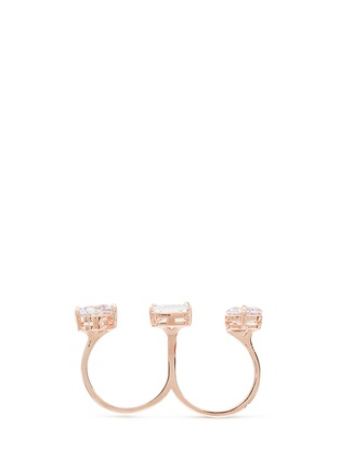 Figure View - Click To Enlarge - CZ by Kenneth Jay Lane - Mix cubic zirconia two finger ring
