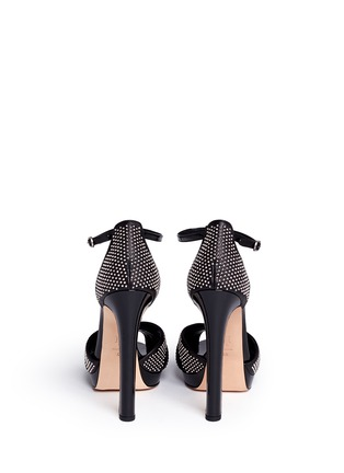 Back View - Click To Enlarge - Alexander McQueen - Eyelet stud mix leather peep toe sandals
