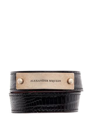 Main View - Click To Enlarge - Alexander McQueen - Logo metal plate lizard embossed leather bracelet