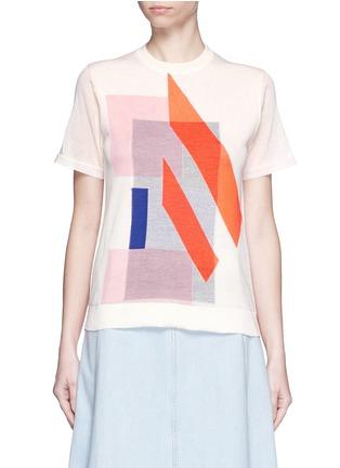 Main View - Click To Enlarge - ACNE STUDIOS - 'Basil' geometric intarsia knit T-shirt