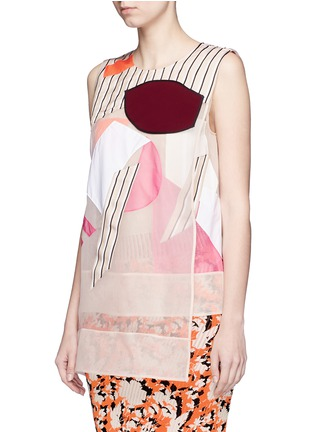 Front View - Click To Enlarge - Acne Studios - 'Gladis' Cubist effect patchwork organza tabard top