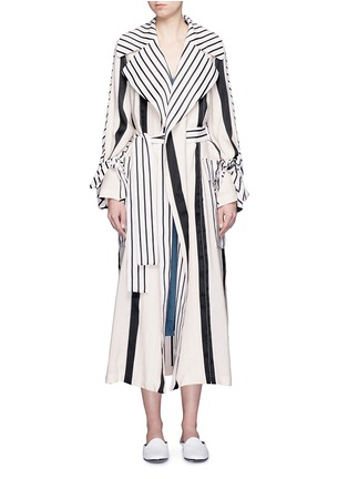 Main View - Click To Enlarge - ACNE STUDIOS - 'Verna' variegated stripe linen blend trench coat