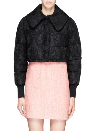 Detail View - Click To Enlarge - Moncler - 'Bettina' detachable hem lace overlay down jacket
