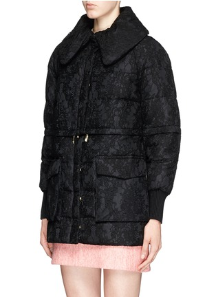 Front View - Click To Enlarge - Moncler - 'Bettina' detachable hem lace overlay down jacket