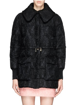 Main View - Click To Enlarge - Moncler - 'Bettina' detachable hem lace overlay down jacket