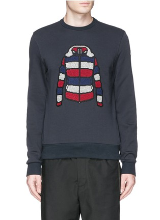 Main View - Click To Enlarge - Moncler - Down jacket embroidery sweatshirt