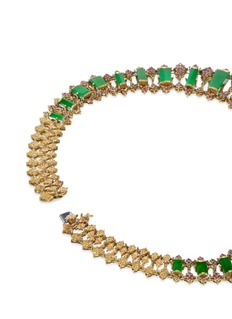 Buccellati Sapphire jade 18k gold bib necklace