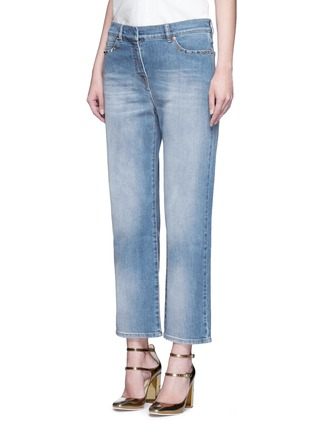 Front View - Click To Enlarge - VALENTINO - 'Rockstud Untitled 06' whiskered boyfriend chinos
