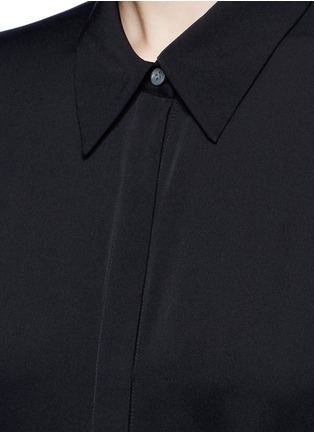 Detail View - Click To Enlarge - Theory - 'Talbilla' tie front silk shirt dress