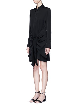 Front View - Click To Enlarge - Theory - 'Talbilla' tie front silk shirt dress