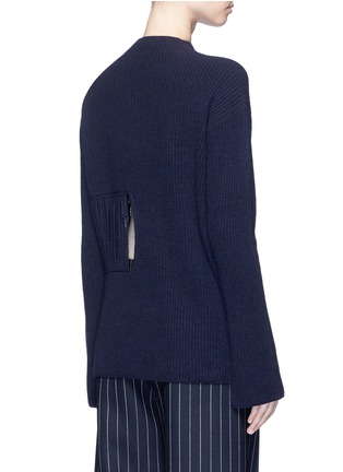 Back View - Click To Enlarge - Stella McCartney - Fringed cutout panel cashmere-wool sweater