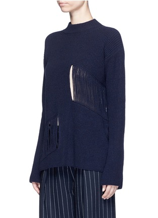 Front View - Click To Enlarge - Stella McCartney - Fringed cutout panel cashmere-wool sweater