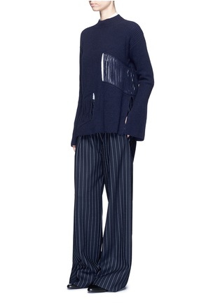 Figure View - Click To Enlarge - Stella McCartney - Fringed cutout panel cashmere-wool sweater