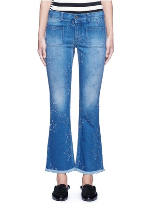 Main View - Click To Enlarge - Stella McCartney - Distressed star kick flare denim pants