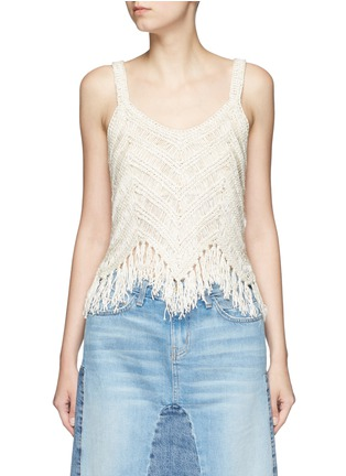 Main View - Click To Enlarge - alice + olivia - 'Adelina' dropped stitch knit fringed tank top