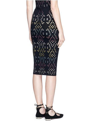 Back View - Click To Enlarge - alice + olivia - 'Ani' stripe underlay knit pencil skirt