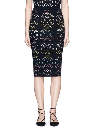 Main View - Click To Enlarge - alice + olivia - 'Ani' stripe underlay knit pencil skirt