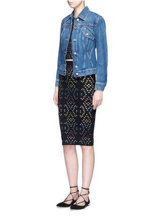 Figure View - Click To Enlarge - alice + olivia - 'Ani' stripe underlay knit pencil skirt