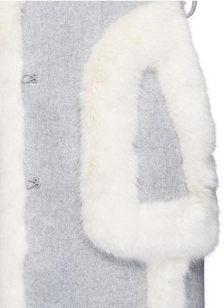 Detail View - Click To Enlarge - Stella McCartney - Faux fur wool blend felt overcoat