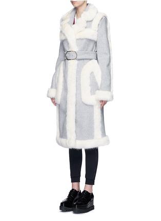 Front View - Click To Enlarge - Stella McCartney - Faux fur wool blend felt overcoat