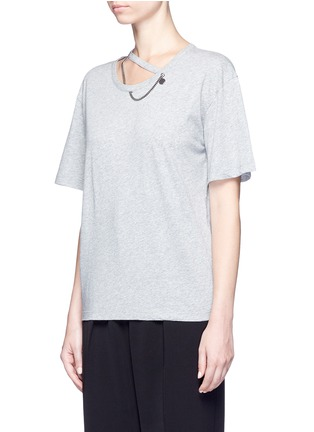 Front View - Click To Enlarge - Stella McCartney - 'Falabella' chain cutout neck T-shirt