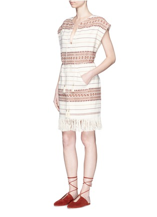 Figure View - Click To Enlarge - Zimmermann - 'Harlequin' stripe cotton fringed poncho dress