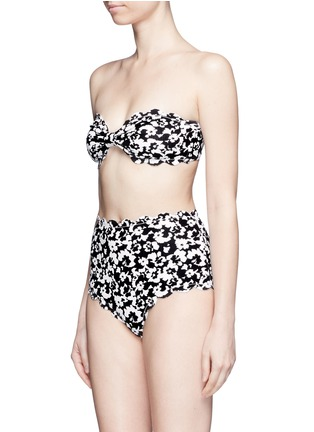 Figure View - Click To Enlarge - Marysia - 'Antibes' hibiscus print scalloped bow bandeau top