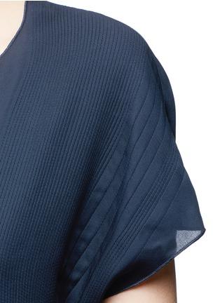 Detail View - Click To Enlarge - Vince - Pintuck stitch silk split neck blouse