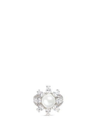 Main View - Click To Enlarge - CZ BY KENNETH JAY LANE - Cubic zirconia glass pearl floral ring