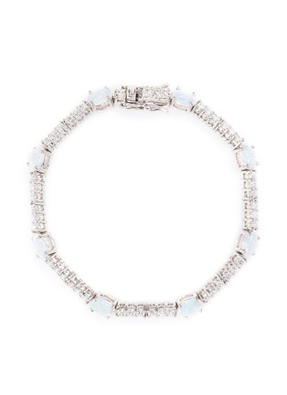 Main View - Click To Enlarge - CZ by Kenneth Jay Lane - Opalesecnt cubic zirconia oval cabochon bracelet