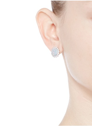 Figure View - Click To Enlarge - CZ by Kenneth Jay Lane - Opalescent cubic zirconia oval cabochon stud earrings