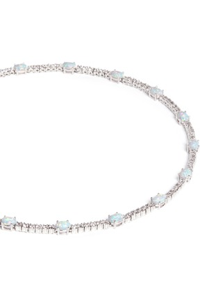 Detail View - Click To Enlarge - CZ by Kenneth Jay Lane - Opalescent cubic zirconia oval cabochon necklace