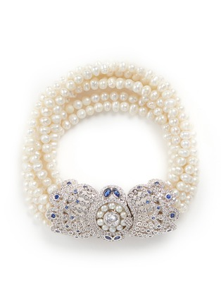 Main View - Click To Enlarge - CZ by Kenneth Jay Lane - Cubic zirconia pavé freshwater pearl bracelet